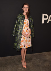Allison Williams sported clashing prints at the LA premiere of 'Past Forward' with this floral coat and paisley dress combo.