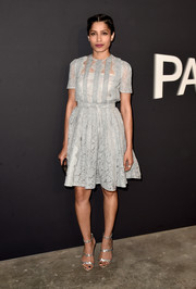 Freida Pinto looked lovely in a gray lace dress by Prada at the LA premiere of 'Past Forward.'