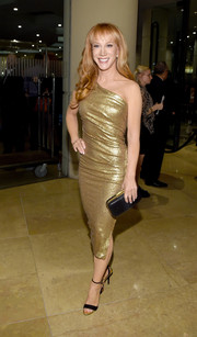 Kathy Griffin looked radiant in a gold one-shoulder dress by Donna Karan during the pre-Grammy gala.