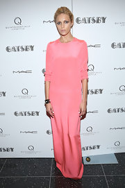 Anja Rubik's rose pink column dress gave her a fun, pretty in pink look while at the special screening of 'The Great Gatsby.'