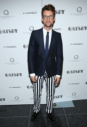 Brad Goreski chose a fun and quirky suit with a shawl-collar blazer and navy-and-white shaped pants for his look at a screening of 'The Great Gatsby.'