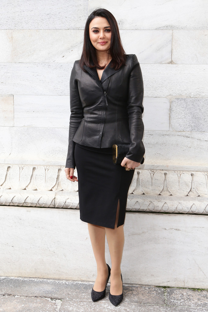 be81fd61fa Preity Zinta went classic at Milan Fashion Week wearing a black pencil  skirt and leather jacket