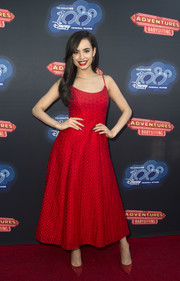 Sofia Carson wowed in a red spaghetti-strap dress by Monique Lhuillier at the premiere of 'Adventures in Babysitting.'