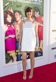 Aubrey Plaza polished off her look with strappy silver heels by Casadei.
