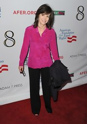 Sally went for a demure style on the red carpet in these black slacks.