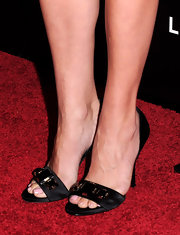 Jennifer Westfeldt wore an elegant pair of embellished black satin sandals to the 'Mad Men' season 4 premiere.