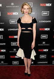 January Jones wore this statement cutout dress to the 'Mad Men' season premiere in Hollywood.