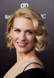 January Jones applied a muted berry-colored lipgloss for the fifth season premiere of 'Mad Men.'