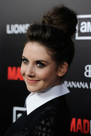 Alison Brie wore her hair in a voluminous loose bun for the fifth season premiere of 'Mad Men.'
