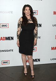 Julia Ormond chose a classic LBD with illusion sleeves and floral embroidery for her red carpet look at the 'Mad Men' Season 6 screening.