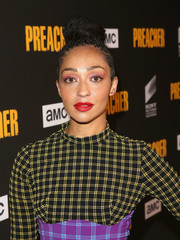 Ruth Negga styled her hair into a high braided bun for the premiere of 'Preacher' season 3.