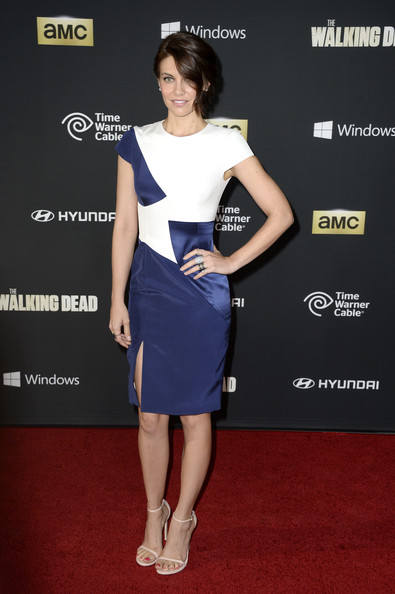 Lauren Cohan showed off her modern style in a blue and white cocktail dress during the 'Walking Dead' season 4 premiere.