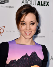 Aubrey Plaza pulled her locks back into an edgy updo for the premiere of 'About Alex.'