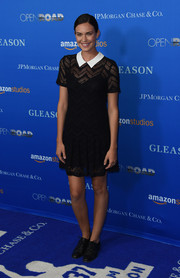 Odette Annable opted for flat oxfords instead of heels to finish off her look.