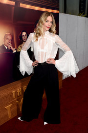 Jaime King chose a pair of black wide-leg pants to complete her outfit.