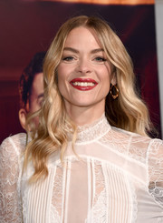 Jaime King finished off her look with a glossy red lip.