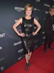 Melora Hardin went the edgy route in a leather LBD during the premiere of 'Transparent' season 2.