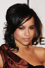 Zoe Kravitz showed off her elegant side with a voluminous half up hairstyle.