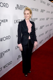 Anne Heche paired a black pantsuit with a pink ruffle blouse for the premiere of 'The Last Word.'