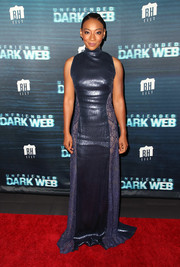 Betty Gabriel shone in a Tadashi Shoji sequined gown with lace panels at the premiere of 'Unfriended: Dark Web.'