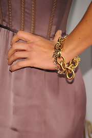 These gold chain link bracelts really bring out the gold accents in Julie's lilac colored dress.