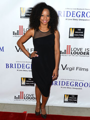 Monique Coleman went for a modern feel with this sheer-panel LBD featuring an asymmetrical hem during the premiere of 'Bridegroom.'