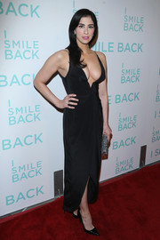 Sarah Silverman put on a busty display in this plunging black dress by Zimmermann during the premiere of 'I Smile Back.'