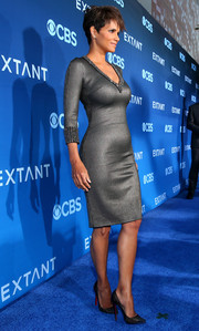 Halle Berry completed her fierce look with a pair of embellished black Christian Louboutin pumps.