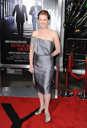 Mireille wore a sleek silver strapless dress tot he 'Extraordinary Measures' premiere.