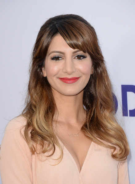 Nasim Pedrad's chic half-up 'do showed off her ombre highlights and her angled bangs.