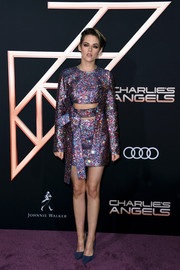 Kristen Stewart looked totally disco-ready in a sparkling cutout dress by Germanier at the premiere of 'Charlie's Angels.'