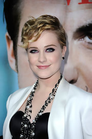 Evan Rachel Wood rocked some super smoky eyes at the 'Ides of March' premiere. To try her edgy look, use a black eye pencil to heavily line upper and lower lash lines and the inner rims of the eyes, then lightly smudge and draw out  past the outer corners. Next, take a deep violet eyeshadow and apply over the black eye pencil lines. Also, sweep the eyeshadow over the upper lids and blend into creases. Finish off with plenty of black mascara.