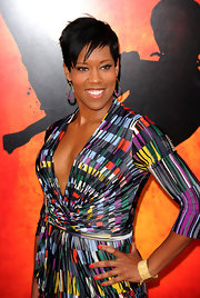 Regina King finished off her ensemble in elegant style with a gold cuff bracelet when she attended the 'Karate Kid' premiere.