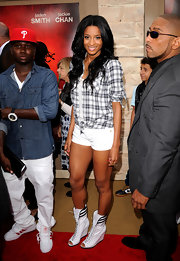Ciara's lace-up, peep toe wedge boot reminded us of boxing shoes. New trend?