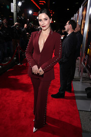 Sophia Bush was edgy-glam in a studded maroon pantsuit by Cinq a Sept at the premiere of 'Miss Bala.'
