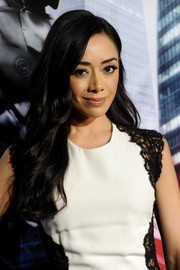 Aimee Garcia wore her hair down in flowing waves during the 'Robocop' premiere.