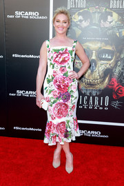 Elisabeth Rohm looked vibrant in a ruffle-hem floral dress at the premiere of 'Sicario: Day of the Soldado.'