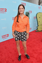 Marcia Gay Harden showed off her summer style with a pair of patterned black-and-white shorts and an orange button-down at the premiere of 'Cloudy with a Chance of Meatballs 2.'