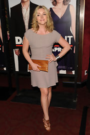 Jane Krakowski looked phenomenal in cognac sandals with silver detailing.