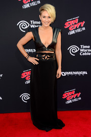 A floor-sweeping black skirt with a cutout waistband completed Nicky Whelan's sultry outfit.