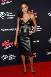 Rosario Dawson looked quite the femme fatale in a leather and lace LBD by Ermanno Scervino during the 'Sin City: A Dame to Kill For' premiere.