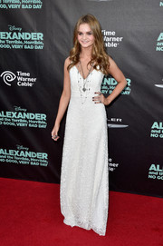 Kerris Dorsey looked angelic in her white maxi dress during the premiere of 'Alexander and the Terrible, Horrible, No Good, Very Bad Day.'
