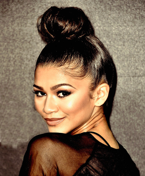 More Pics of Zendaya Coleman Classic Bun (1 of 21) - Updos Lookbook - StyleBistro [very bad day,alexander and the terrible,image,hair,hairstyle,face,eyebrow,beauty,chin,black hair,forehead,bun,lip,arrivals,zendaya coleman,no good,horrible,filters,premiere of disney,premiere]