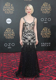 Mia Wasikowska looked appropriately enchanting at the 'Alice Through the Looking Glass' premiere in this gorgeous Alexander McQueen gown adorned with star and butterfly beading.