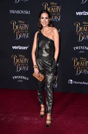 Louise Roe was edgy-chic in a gunmetal one-shoulder jumpsuit at the premiere of 'Beauty and the Beast.'