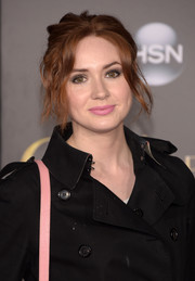 Karen Gillan wore a messy updo with wavy, face-framing tendrils when she attended the Hollywood premiere of 'Cinderella.'