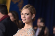 Actress Lily James attends the premiere of Disney's