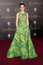 For the Hollywood premiere of 'Cinderella,' Sophie Mcshera donned a flowing green Andrew Gn print gown that oozed springtime exuberance.