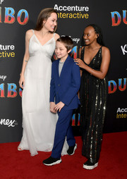 Angelina Jolie was an angel in a flowing white dress by Atelier Versace at the premiere of 'Dumbo.'
