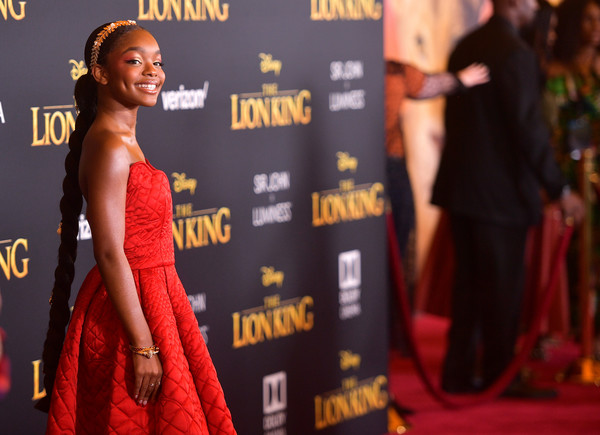 More Pics of Marsai Martin Long Braided Hairstyle (1 of 4) - Long Hairstyles Lookbook - StyleBistro [the lion king,red carpet,carpet,premiere,flooring,fashion,dress,event,muscle,model,competition,arrivals,marsai martin,california,hollywood,dolby theatre,disney,premiere,premiere]